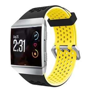 Taottao léger Ventiler Coque en silicone perforée accessoire de sport Bandes pour Fitbit ionique jaune