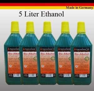 5 Litres de Haute-Performance Bio-éthanol en Bouteilles de 1 Litre
