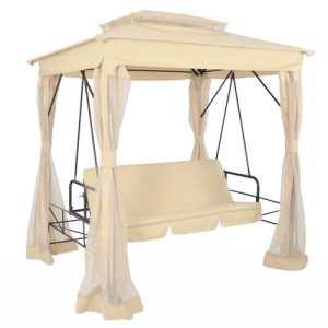 Balancelle convertible beige avec toit et d'assise et de couchage : env. 153 cmx97cm
