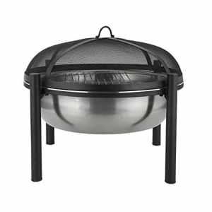 Harima Cacus Braséro de camping en acier inoxydable avec grille de barbecue de jardin de jardin chromée et grillage contre les étincelles Housse contre la pluie Brûleur à bois Usage extérieur 63 cm de diamètre – noir