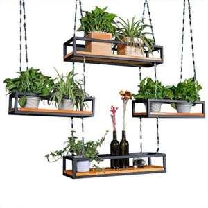 LIAN Nordique Solide Bois Fer Fleur Stand Creative Personnalité Bar Fleur Boutique Usine Support Balcon Type De Plafond Pot De Fleurs Rack Cadre De Stockage