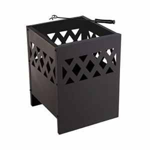 Lyndan–Styx Noir extérieur de jardin en acier Brasero Pit Grille pour barbecue Cheminée Brasero Chauffage de terrasse Grille de cuisson Poker Poêle à bois Gravure avec housse et Housse de pluie