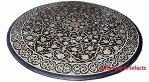 121,9cm rond en marbre Noir Luxe Dessus de table à café Art marqueterie incrustation motif floral