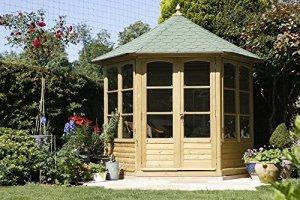 Abri de jardin Auvergne hexagonal en bois grande avec bardeaux