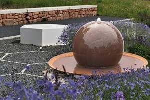 gartenmetall acier Corten Fontaine Boule en Acier Tonga