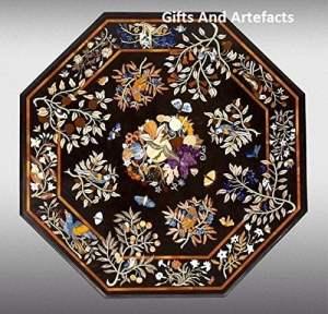 Grande table de café Top 121,9cm octogonale en marbre Noir incrustation Unique Motif floral