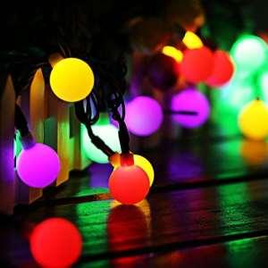 Guirlande Lumineuse Solaire 60 Boule LED, 10m Fil Souple Imperméable 8 Modes Eclairage Décoration pour Maison, Jardin, Festival etc (Multicolore)