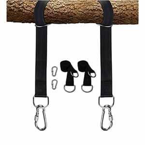 LAMURO Kit Ancrage Fixation pour Balançoire-Sangles Résistantes de 3m,Crochets Métalliques et 2 Mousquetons-Cordes d'Attache pour Balancoire de Jardin,Hamac,ou Siège Suspendu-Noir