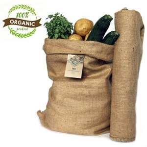 TBG Lot de 2 grands sacs écologiques en toile de jute 100 % naturelleIdéal pour cuisine, jardin et potager urbainSac écologique pour légumes, légumes verts et tuberculesOrganiseur rustique 65x 47cm