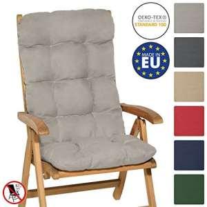 Beautissu Matelas Coussin pour chaise fauteuil de jardin terrasse Flair HL 120x50x8cm – Dossier haut – Gris clair