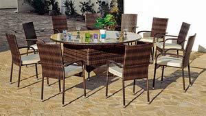 HEVEA Jardin Ensemble BER1810-1 Table ø180 + 10 fauteuils et Coussins resine Marron