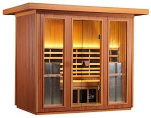 Infrared OUTDOOR Sauna – Far Infrared Sauna for Home – 4-5 Person Heated Detox Therapy – Full Spectrum Light – Low EMF – Lifetime Guarantee by Clearlight