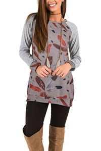 Tunika Blouse Mode Hauts T-Shirt, Chemise Femme à Porter avec des Leggings Manches Longues Travail Casual Top Gris L