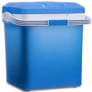 Blitzzauber24 Glacière Electrique Chaud/froid 26L 12V,AC 220V-240V Mini Réfrigérateur Portable pour Voiture, Camping ou Bureau Classe Energétique A++ (Bleu)