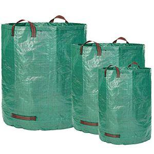 Glorytec 3x sac de jardin 160L + 300L + 500L – 3 sacs à déchets de jardin premium – Sacs de jardin robustes en polypropylène extrêmement robuste (PP) 150gsm – sac à feuilles autoportant et pliable