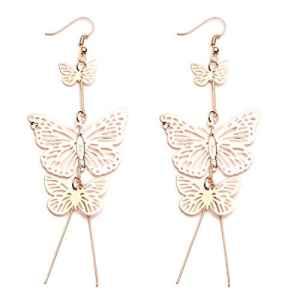Lnlyin Papillon boucles d'oreilles bijoux creux Fleur Long glands Boucles d'oreilles élégant Papillon boucles d'oreilles pendantes Mode Unique Jewellery, Alliage, doré, Taille unique