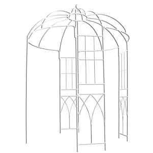 OUTOUR® – Tonnelle de style français – 4côtés – En forme de cage à oiseaux – En métal – Support pour plantes, vigne vierge, fleurs, roses – Pour jardin, pelouse, cour, patio – Pour mariage – Blanche.