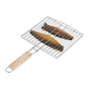 Relaxdays Grille de cuisson poisson barbecue 40 cm, acier, grill, poignée bois, double grille viande, argenté