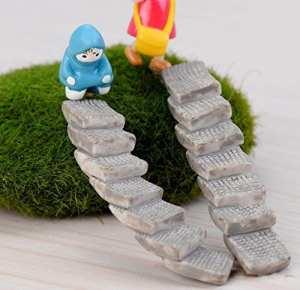 SecretRain pont Jardin Féérique miniature Maison de poupée pour terrarium figurine Statue Home Decor Ornement Marron 2pcs Stairs