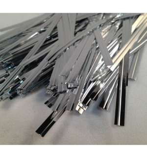 100 Silver 4 (100mm) Metallic Twist Ties / Bag Sealers Coloured Plastic with Wire by Picture Perfect Party