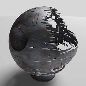 Death Star Firepit (Natural Gas), Silver Ceramic, 37″