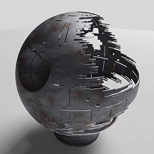 Death Star Firepit (Propane), Silver Ceramic, 37″
