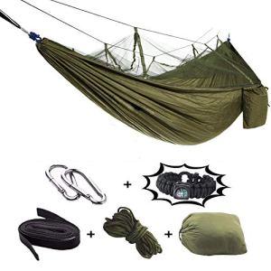 Hamac de camping avec moustiquaire – 2 personnes Hamac de voyage extérieur de haute résistance pour camping Randonnée Randonnée (avec un poignet de boussole gratuit)