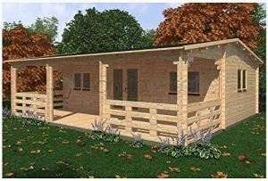 Mondocasette Maison nichoir en Bois de Jardin–Modèle Alma épaisseur parois 45mm, 36m² + 20mq de Patio, Bungalow Chalet Bois