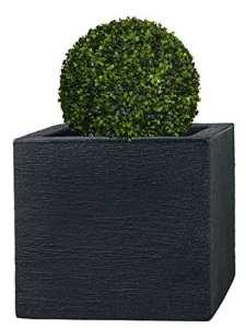 PFLANZWERK® Pots de fleurs CUBE Jardinière Anthracite Plastique 34x40x40cm *Résistant au gel* *Protection UV* *Qualité européenne*