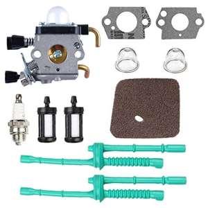 Poweka C1Q-S97 Carburateur avec Filtre à Air Tuyau d'Essence pour Débroussailleuse STIHL FS38 FS45 FS46 FS55 KM55 HL45 FS45L FS45C FS46C FS55C FS55R FS55RC