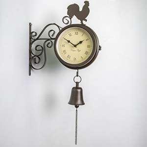 Primrose Horloge et thermomètre d'extérieur montés sur support et ornés d'un coq et d'une cloche–47cm