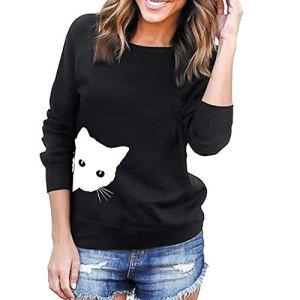 Sweat-Shirt Chat Imprimer Solides Sports Femmes,Pullover T-Shirt Chaud Veste Automne Hiver Manteau Mode Outwear Coats Tops Blouse Blouson Casual Pull Jacket Tunique (S, Noir)