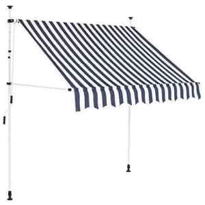 vidaXL Auvent Rétractable Manuel 200cm Rayures Bleues et Blanches Store Balcon
