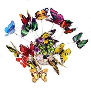 25 Pcs Coloré Papillon Avec Springy Ailes Jardin Décoration Patio Pot De Fleurs Plante Cour Décor Extérieur Plantation Fleur Pot Double-Couches Papillons Lit Vase Ornement Bâtons