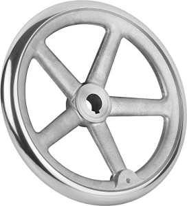 Bascule main Roue avec écrou en aluminium sans poignée, Komp: Aluminium, D2= 16, D1= 180, 1pièce, k0160.1180x 16