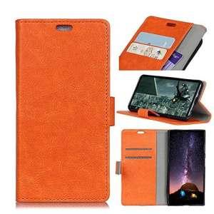 BONROY Coque Xiaomi Mi A2 / Mi 6X,Housse en Cuir pour Portefeuille à Rabat avec [Fermeture magnétique] Xiaomi Mi A2 / Mi 6X-(Crazy Horse – Orange – KL)