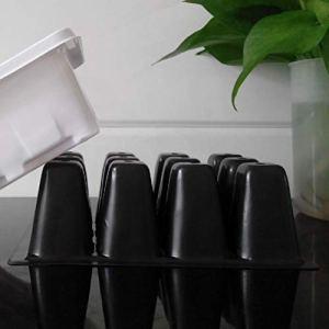 dfhffghfdgjfh Durable 12 Cellules Trou Pépinière Pépinières Graines de Plantes Cultivent Bac Plateau Insertion Propagation Semis Cas Casier De Pot De Fleur Plateaux De Plante (Noir)