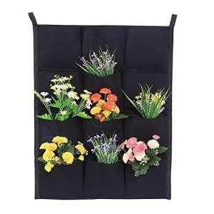 Jardinière verticale pour jardin 7/12/16/18 Pochettes murales pour plantes Grow Sacs pour contenants Jardinière murale à feutre suspendue pour intérieur extérieur (noir 12 pochettes)