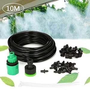 KING DO WAY Kits d'irrigation, Système d'arrosage Arroseur DIY Pour Irrigation Arrosage Brumisation Jardin Serre Misting Nozzle (10m Tuyau Avec 10 Micro Buses De Gicleurs)
