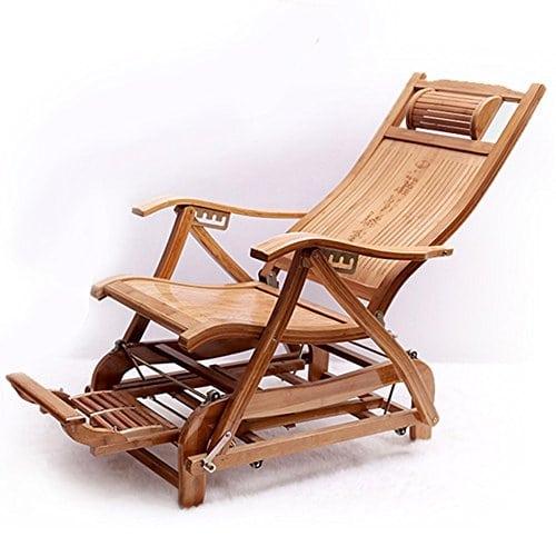 KTYXGKL Chaise À Bascule en Bambou Pliante Chaise Berçante Vieux Homme Chaise Loisirs Chaise Balcon Adulte Sieste Chaise Longue Chaise Pliante