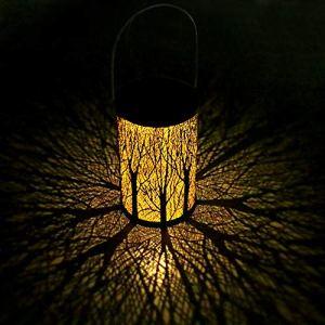 Lanterne solaire pour extérieur, décoration de jardin, pratique et décorative, lampe de décoration pour pelouse, couloir/marche / arrêt, lanterne IP44 étanche LED métal