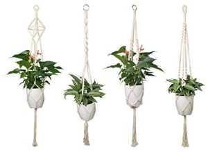 Luxbon 4 PCS Suspension Corde Plante Macramé Porte Pot Suspendu Plante Cintre Intérieur Ou Extérieur Décoration du Jardin avec 41 Pouces, 4 Jambes en Corde
