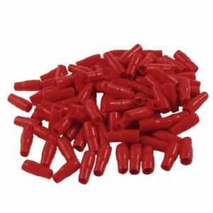 sourcingmap 100 Pcs Mini rouge plastique batterie couvre l'isolation bottes