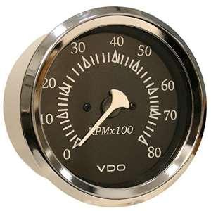 VDO Allentare Black 8000RPM 3-3/8″ (85mm) Outboard Tachometer – 12V – Chrome Bezel