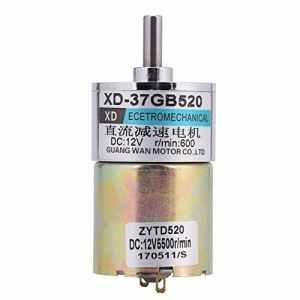 XD-37GB520 DC12V 15W 30RPM / 600RPM Boîte de Moteur à Engrenages Micro Réducteur à Couple élevé Vitesse Réducteur de Vitesse du Moteur Électrique à Engrenage Brossé CW/CCW (600)