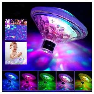 Caxmtu flottant pour piscine lumières LED Lampe sous l'eau pour bain Disco étang piscine enfant Baignoire, 7modes de couleurs assorties–à piles