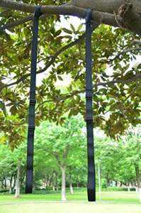 Eggedel 2PC Length Adjustable 34» to 56» Swing Hanging Tree Straps with Safety Heavy-duty Hooks (Noir)