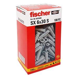 Fischer 542446cheville avec vis gauche, gris, 6x 30mm, lot de 100pièces