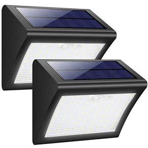 Lampe Solaire Extérieur, Trswyop [ 2 Pack] 60 LED Lumière Solaire Etanche Détecteur de Mouvement Eclairage Solaire 3 Modes Intelligents Lampe de Sécurité Sans Fil Luminaire mural Solaire Jardin