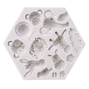 Lnlyin animaux de la forêt Moule en silicone Fondant Moules à gâteaux Moule Moule à modelage et de sculpture, Silicone, Blanc 1, Taille unique